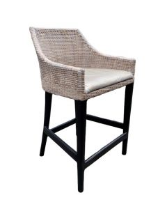 """Avoca"" Hampton Style Rattan Kitchen Barstool Greywash with Black Legs"