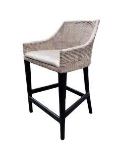 """Coral Bay"" Hampton Style Rattan Kitchen Barstool Greywash with Black Legs"