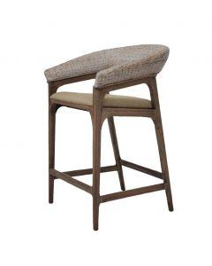 """Mauritius"" Resort Style Rattan Counter Bar Chair Stool, Grey Wash Weave & Brown Timber Leg"