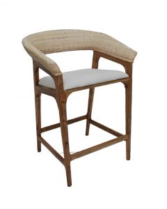 """Mauritius"" Resort Style Rattan Counter Bar Chair Stool, Whitewash Weave & Teak Timber Leg"