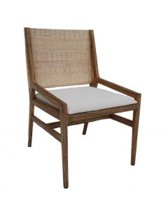 """Maldives"" Resort Style Rattan Dining Occassional Chair, Whitewash Weave & Teak Timber Leg, 56cm x 56cm x 90cmH"