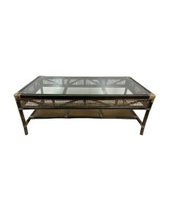"""Caribbean"" British Colonial Style Alfresco Rattan & Glass Coffee Table, 120cmL x 60cmW x 45cmH"