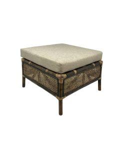 """Caribbean"" British Colonial Style Alfresco Rattan Footstool Ottoman, 62cmL x 51cmW x 44.5cmH"