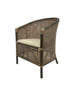 """Caribbean"" British Colonial Style Alfresco Rattan Tub Chair, 63cmL x 61cmW x 85cmH"