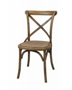 """""""Noosa""""  Timber Rattan Dining Chair Cross Back Natural Oak, 50cmL x 48 cmD x 88cmH"""
