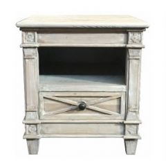 New Hampshire Recycled White Wash Timber 1 Drawer Side Table, 50x50x55cm(H)