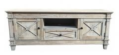 New Hampshire Recycled White Wash Timber Small Entertainment Unit, 140x40x55(H)