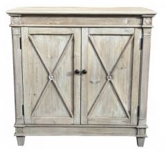 """New Hampshire"" Recycled Timber Buffet Sideboard with 2 Doors White Wash, 90cmL x 40cmD x 90cmH"