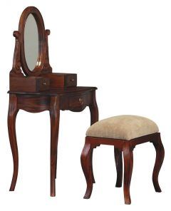 """FLOOR STOCK CLEARANCE SALE """"Maison"""" French Provincial 70cm x 45cm Mahogany Dressing Table Desk with Mirror and Stool Solid Mahogany Hardwood Timber (RRP $899)"""