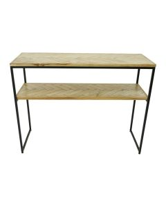 """FLOORSTOCK CLEARANCE SALE """"Parquet"""" Hamptons Style Console Table Distressed Antique Wood with Matte Black on Metal, 100cm x 45cm x 76cmH (RRP $399)"""