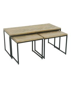 """FLOORSTOCK CLEARANCE SALE """"Parquet"""" Hamptons Style Coffee Table Set of 3 Distressed Antique Wood with Matte Black on Metal (RRP $799)"""
