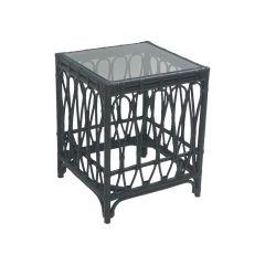 """Kingscliff"" Hamptons Style Side Table in Black Rattan, Width: 60cm  Depth: 60cm  Height: 64cm (RRP $499)"