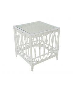 """Kingscliff"" Hamptons Style Side Table in White Rattan, Width: 60cm  Depth: 60cm  Height: 64cm (RRP $499)"
