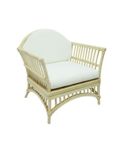 """Byron Bay"" Hamptons Style Outdoor Alfresco Armchair in Natural Rattan with White Cushions, 77cmW x 60cmD x 86cmH"