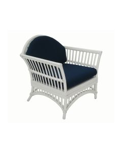 """Byron Bay"" Hamptons Style Outdoor Alfresco Armchair in White Rattan with Navy Cushions, 77cmW x 60cmD x 86cmH"