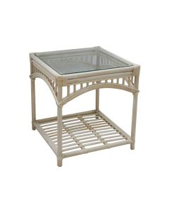 """Byron Bay"" Hamptons Style Alfresco Side Table in Natural Rattan, 60cm x 60cm x 64cmH"