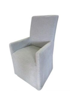 """FLOORSTOCK CLEARANCE """"Ravello"""" Hamptons Style Carver Loose Cover Fabric Dining Chair (RRP $399) CHECK 1300 844 737 FOR QUANTITY AVAILABLE"""
