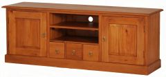 """Normandy"" Light Pecan French Provincial Solid Mahogany Timber 160cm Entertainment TV Unit with 3 Drawers"