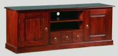 """Normandy"" Mahogany Stain French Provincial Timber 187cm Entertainment TV Unit with 7 Drawers"