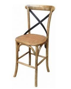 """""""Noosaville"""" Oak Kitchen Bar Counter Stool Chair Cross Back Bar, 42cmL x 42cmD x 99cmH"""
