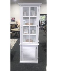 """Whitehaven""  Timber & Glass Cabinet Glass & Shutter Doors White, 78cmL x 40cmD x 220cmH"