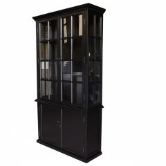 """FLOORSTOCK CLEARANCE SALE """"Whitehaven"""" Black Timber Glass & Shutters Display Cabinet, 120x41xH220cm"""