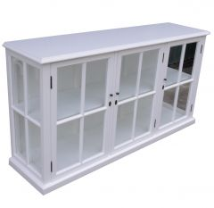 """Sommersby"" Hardwood White Timber 3 Door Glass Buffet, 172 x 45 x 90cm"