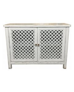 """St Barts"" Hamptons Style 2 Door Cabinet Recycled Elm with Lattice Doors White, 120cm x 45cm x 90cmH"