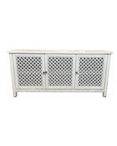 """St Barts"" Hamptons Style 3 Door Buffet Recycled Elm with Lattice Doors White, 180cm x 45cm x 85cmH"