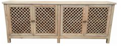 """St Barts"" Hamptons Style 4 Door Buffet Recycled Elm with Lattice Doors Natural, 220cm x 45cm x 85cmH"
