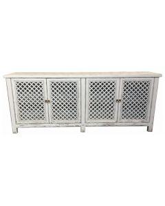 """St Barts"" Hamptons Style 4 Door Buffet Recycled Elm with Lattice Doors White, 220cm x 45cm x 85cmH"