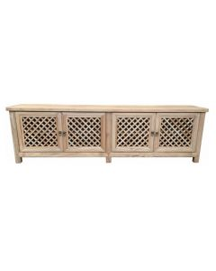 """St Barts"" Hamptons Style 4 Door TV Unit Recycled Elm with Lattice Doors Natural, 200cm x 40cm x 58cmH"