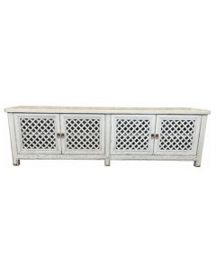 """St Barts"" Hamptons Style 4 Door TV Unit Recycled Elm with Lattice Doors White, 200cm x 40cm x 58cmH"