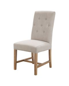 Tiffany French Provincial Linen Buttoned Dining Chair Cream, 48cm x 50cm x 100cmH