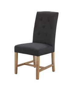 """""""Tiffany"""" French Provincial Linen Buttoned Dining Chair Black, 48cm x 50cm x 100cmH"""