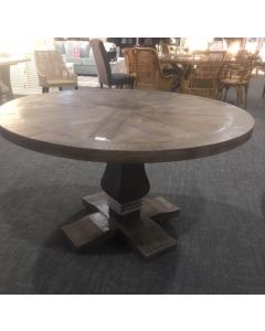 """Tuscany"" Solid Timber Hampton Style Parquetry Round Dining Table Pedestal Base 150cm Grey"