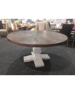 """Tuscany"" Solid Timber Hampton Style Parquetry Round Dining Table Pedestal Base 150cm Grey & White"