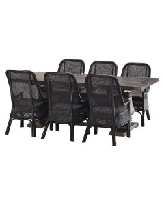 """""""Tuscany"""" 7 Piece Dining Package 240x110cm Hardwood Timber Dining Table + 6 Southbeach Chairs"""