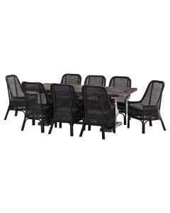 """""""Tuscany"""" 9 Piece Dining Package 240x110cm Hardwood Timber Dining Table + 8 Southbeach Chairs"""