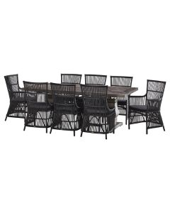 """""""Tuscany"""" 9 Piece Dining Package 240x110cm Hardwood Timber Dining Table with 8 Byron Chairs"""