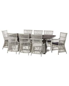 """""""Tuscany"""" 9 Piece Dining Package 240x110cm Hardwood Timber Dining Table + 8 Byron Chairs"""