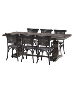 """""""Tuscany"""" 7 Piece Dining Package 240x110cm Hardwood Timber Dining Table with 6 Capri Chairs"""