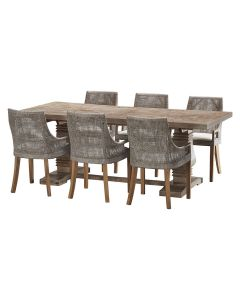 """""""Tuscany"""" 7 Piece Dining Package 210cm Hardwood Timber Dining Table with 6 Avoca Chairs"""
