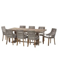"""""""Tuscany"""" 9 Piece Dining Package 210cm Hardwood Timber Dining Table with 8 Avoca Chairs"""