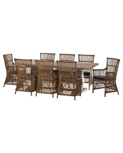 """""""Tuscany"""" 9 Piece Dining Package 210cm Hardwood Timber Dining Table with 8 Byron Chairs"""