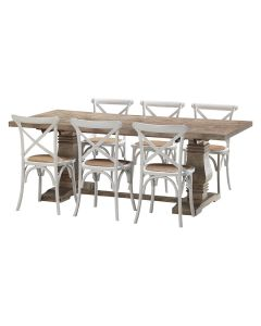 """""""Tuscany"""" 7 Piece Dining Package 210cm Hardwood Timber Dining Table with 6 Noosaville Crossback Chairs"""