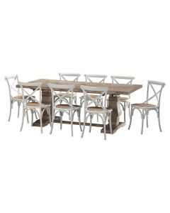 """""""Tuscany"""" 9 Piece Dining Package 210cm Hardwood Timber Dining Table with 8 Noosaville Crossback Chairs"""