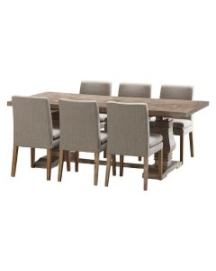 """""""Tuscany"""" 7 Piece Dining Package 210cm Hardwood Timber Dining Table with 6 Oscar Chairs"""