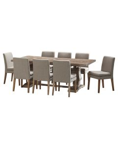 """""""Tuscany"""" 9 Piece Dining Package 210cm Hardwood Timber Dining Table with 8 Oscar Chairs"""