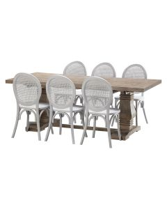 """""""Tuscany"""" 7 Piece Dining Package 210cm Hardwood Timber Dining Table with 6 Seychelles Chairs"""